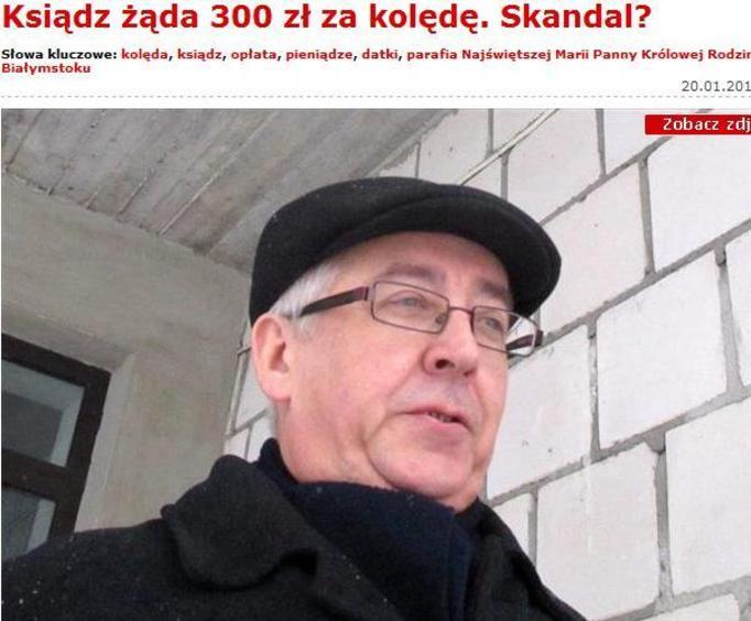 Biznesmen w sutannie! Ksiądz zażądał ofiary w wysokości 300 złotych!