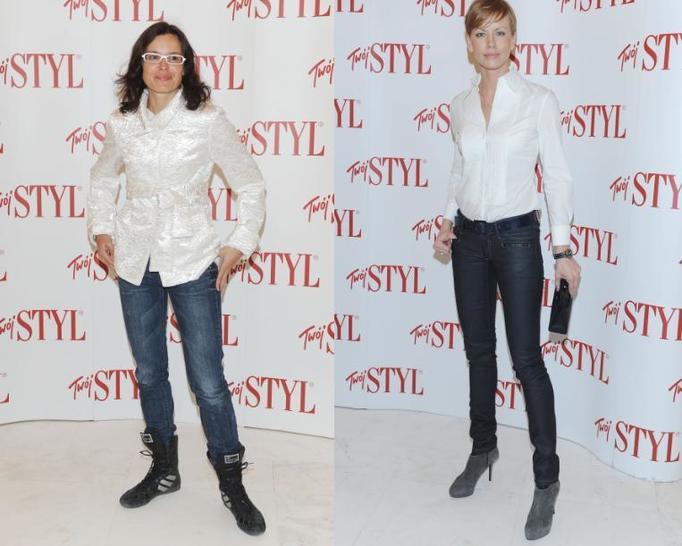Biała koszula i jeansy na dwa sposoby! Która z dziennikarek nosi je lepiej?