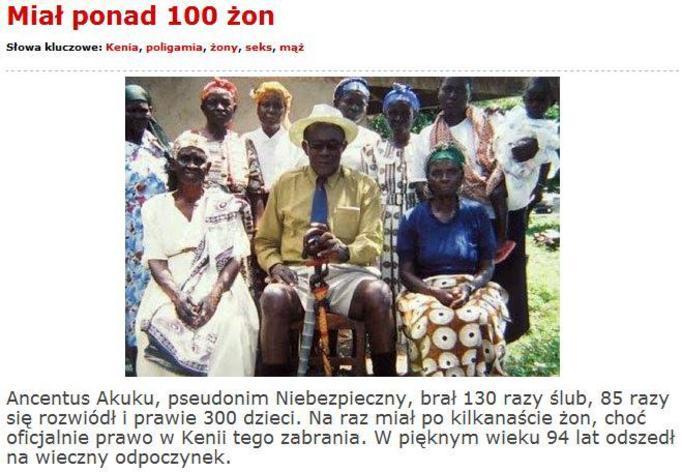 Śmierć rekordzisty: Miał 130 żon i 300 dzieci!