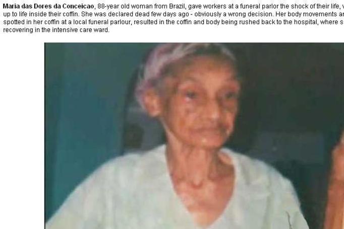 Maria das Dolores da Conceicao: Kobieta, która obudziła się w trumnie!