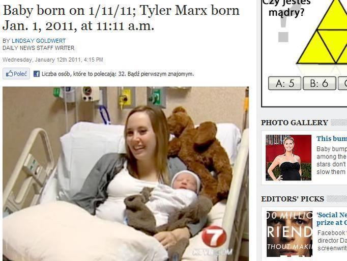 Tyler Marx: Urodził się 11.01.2011 o godzinie 11.11!