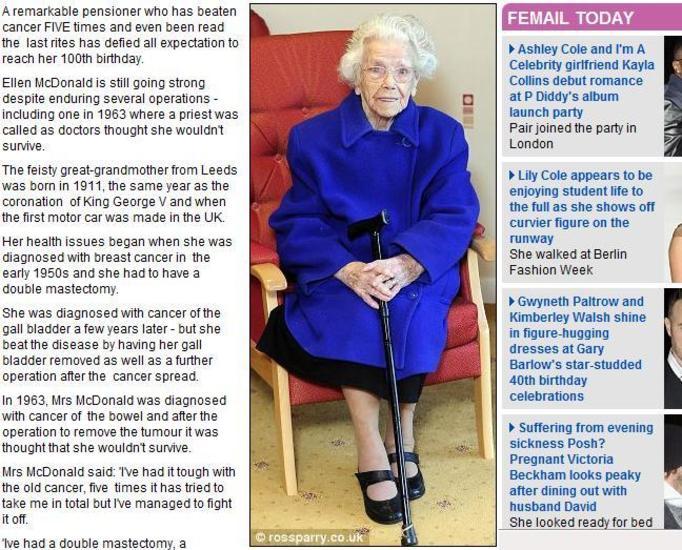 Pięć razy chorowała na raka, a teraz świętuje 100 urodziny!