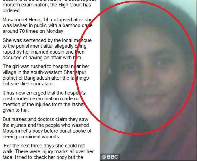 14-letnia Mosammet Hena: Fanatycy religijni zakatowali ją na śmierć, bo nie była dziewicą! Kuzyn ją regularnie gwałcił!
