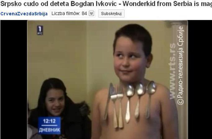 7-letni Bogdan Ivkovic z Serbii: Potrafi przyciągać do swojego ciała metalowe przedmioty! VIDEO