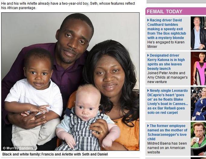 czarni rodzice białe dziecko