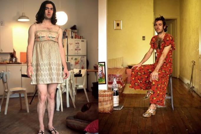 mężczyzna w damskich ubraniach