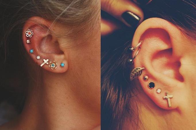 kilka kolczyków w uchu