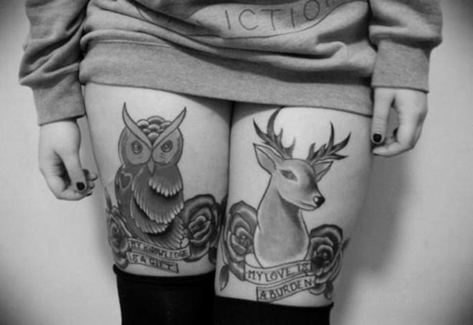 tatuaż na nodze