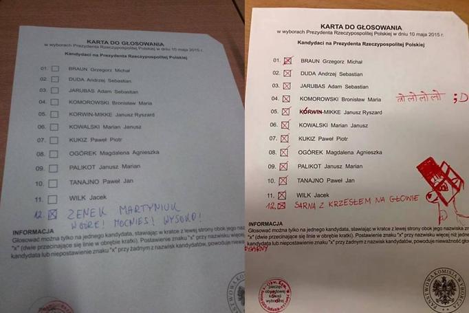 Zabawne dopiski na kartach o głosowania