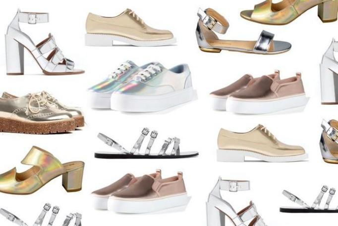 metaliczne buty