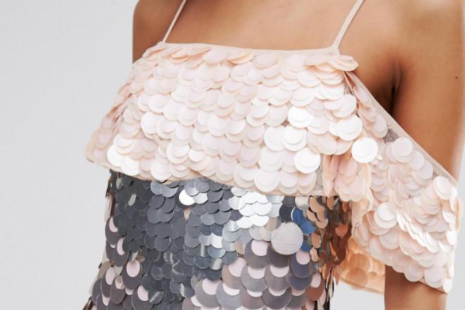 ASOS Sequin Embellished Playsuit with Cold Shoulder