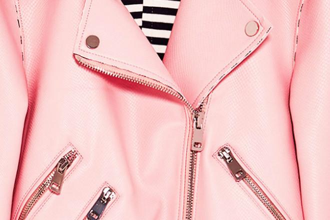Różowa kurtka ze sztucznej skóry - Zara
