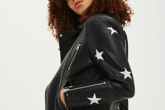Topshop Sisters Faux Leather Biker Jacket
