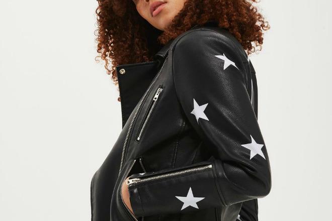 Topshop Sisters Faux Leather Biker Jacket