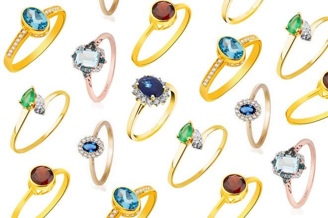 kolorowe pierścionki zaręczynowe