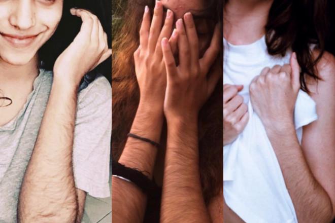 owłosione ręce u kobiety