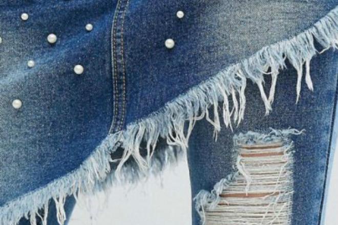Liquor N Poker Denim Skirt over Jeans with Pearl Detail