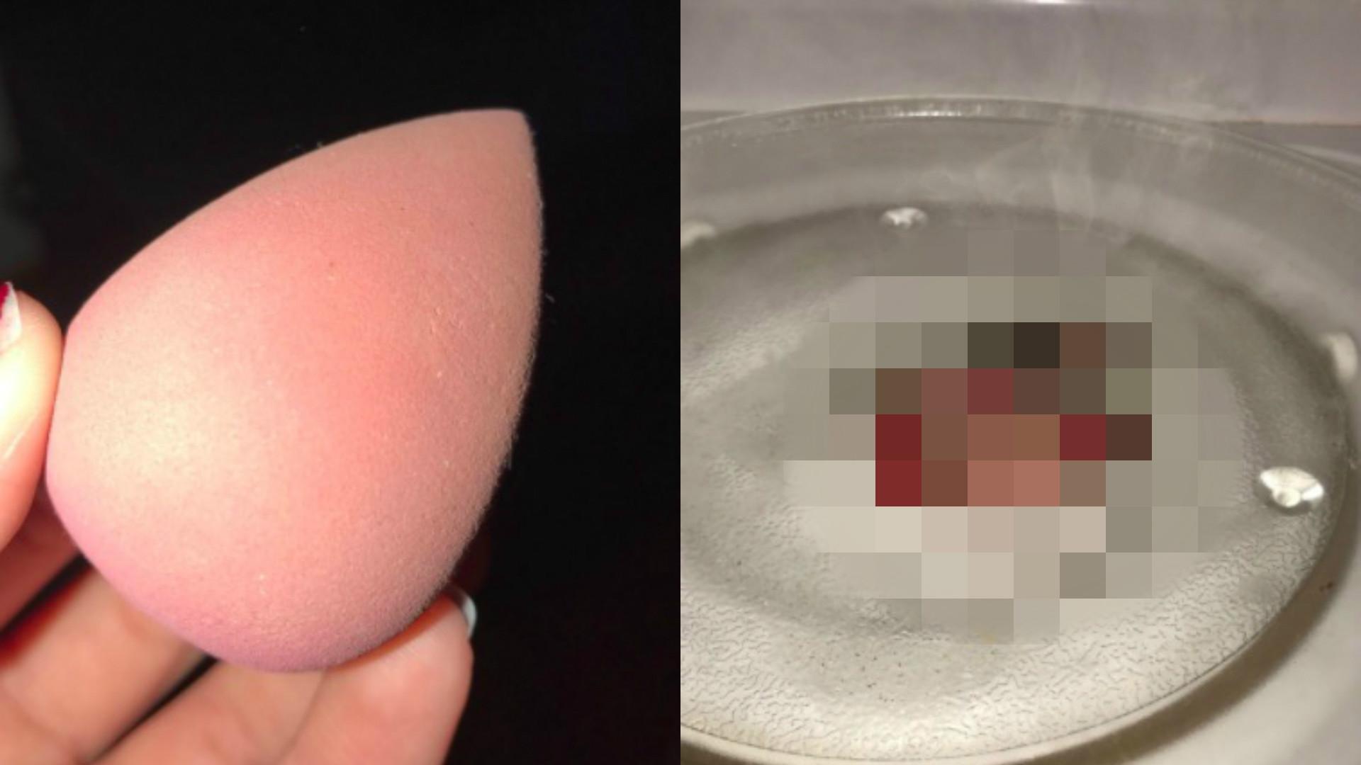 Czyszczenie beauty blendera w mikrofalówce